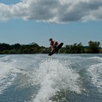 Allie wakeboarding