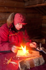 Juha making fire