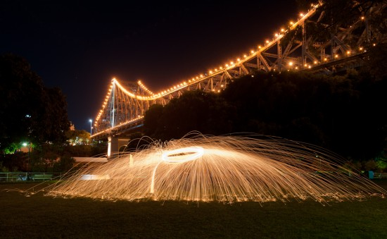 Steel wool burning