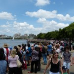 Crowds lining the river at South Bank.