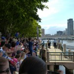 Crowds waiting for the Queen at South Bank.