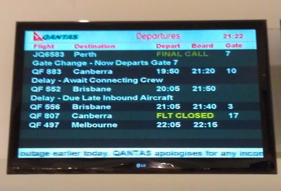 The departures board