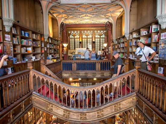 Upstairs at Livraria Lello.