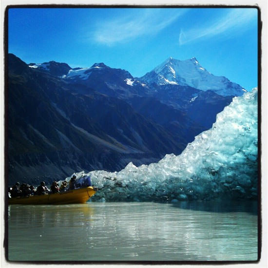 Mount Cook and a freshly-rolled iceberg