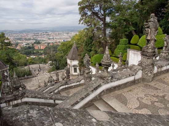 The stairs and Braga beyond.