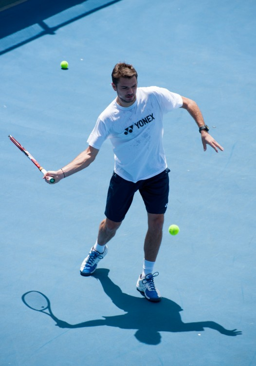 Stanislas Wawrinka practicing