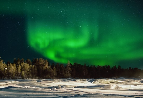 Northern Lights Over the River Juutua