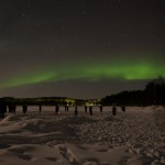 A Line of Photographers Shooting the Northern Lights