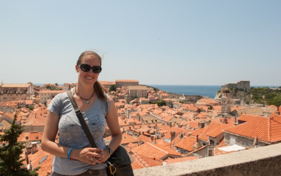 With the Travelon Signature bag in Dubrovnik