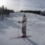 In full winter kit while cross-country skiing in Rovaniemi