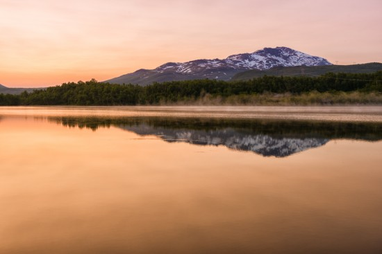 Midnight Sun Reflections between Bardufoss and Narvik