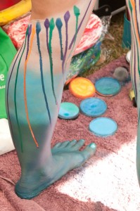 Painted legs at the Body Art Carnivale.