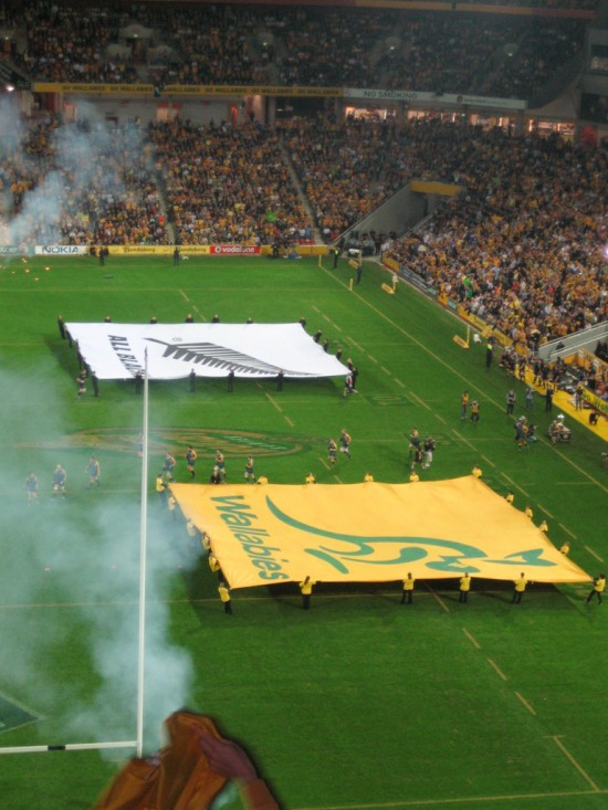 The Wallabies and All Blacks flags.