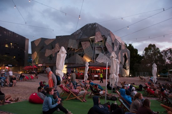 Watching the Tennis in Federation Square